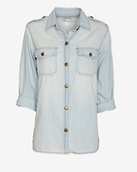 Current/Elliott Perfect Denim Shirt: Light Wash