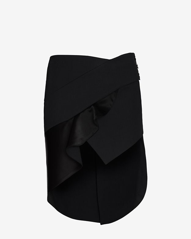 Anthony Vaccarello Ruffle Trim Satin Skirt