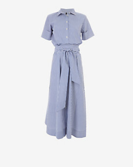 Lisa Marie Fernandez Belted Stripe Shirtdress