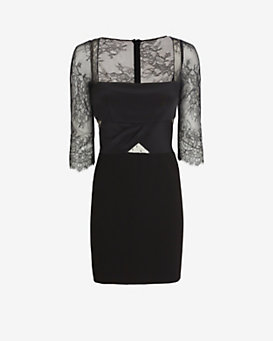 Noam Hanoch Lynn Lace Inset Dress