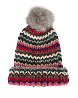 Eugenia Kim Rain Chevron Knit Fur Pom Hat