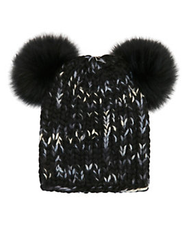 Eugenia Kim Mimi Double Fur Pom Knit Hat: Black