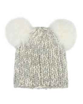Eugenia Kim Mimi Double Fur Pom Knit Hat: Grey