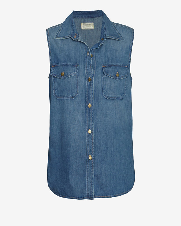 Current/Elliott The Perfect Sleeveless Shirt: Miner Denim