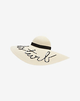 Eugenia Kim Do Not Disturb Sequin Script Wide Brim Hat