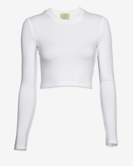 torn by ronny kobo Crop Long Sleeve Tee: White