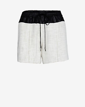 A.L.C. Leather Waist Linen Blend Shorts