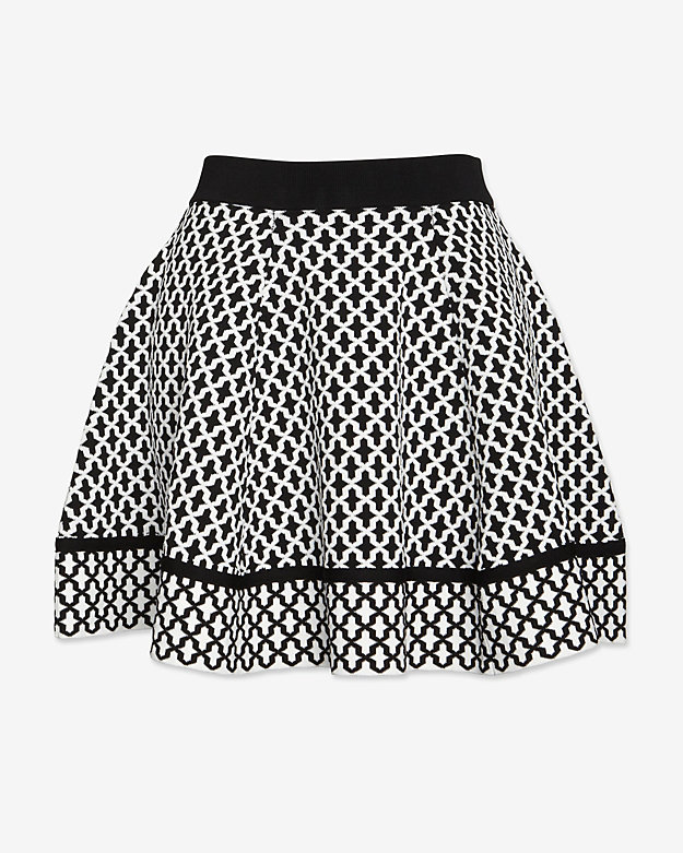 torn by ronny kobo Tile Jacquard Flare Knit Skirt