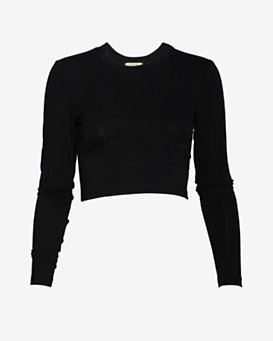 torn by ronny kobo Crop Long Sleeve Tee:Black