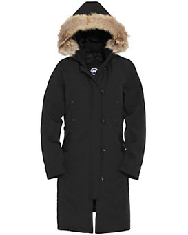 Canada Goose Kensington Fur Trim Long Jacket: Black