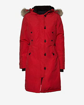 Canada Goose Kensington Fur Trim Long Jacket: Red