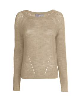 360 SWEATER Open Knit Sweater: Beige