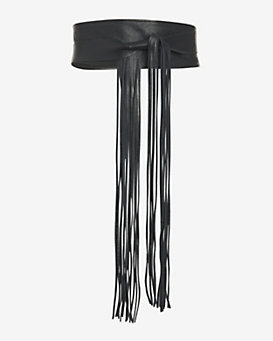 Brave Loop Fringe Leather Belt: Black