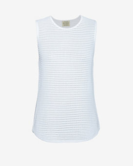 torn by ronny kobo Sleeveless Mesh Knit: White