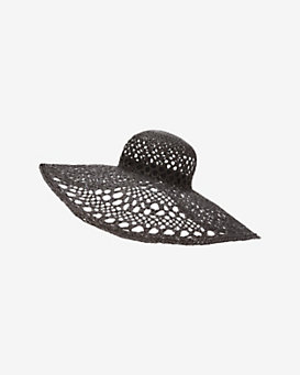 Inverni Iris Open Weave Wide Brim Hat: Black