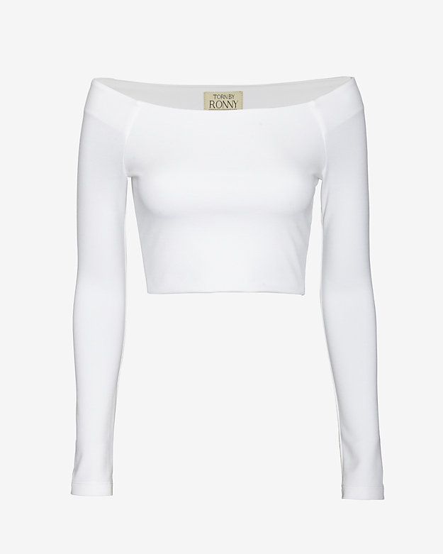 torn by ronny kobo Off The Shoulder Crop Top