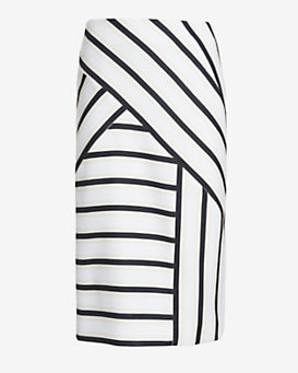 O'2nd Asymmetric Stripe Pencil Skirt