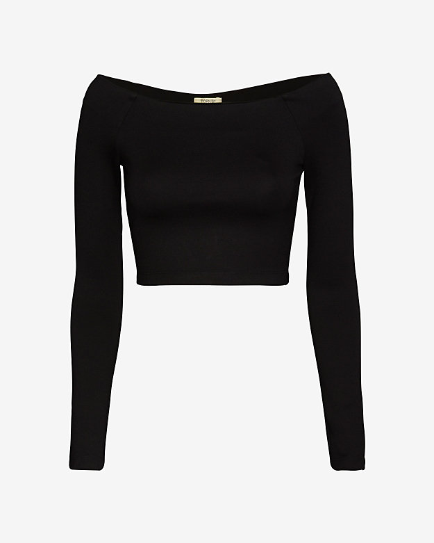 torn by ronny kobo Off The Shoulder Crop Top: Black