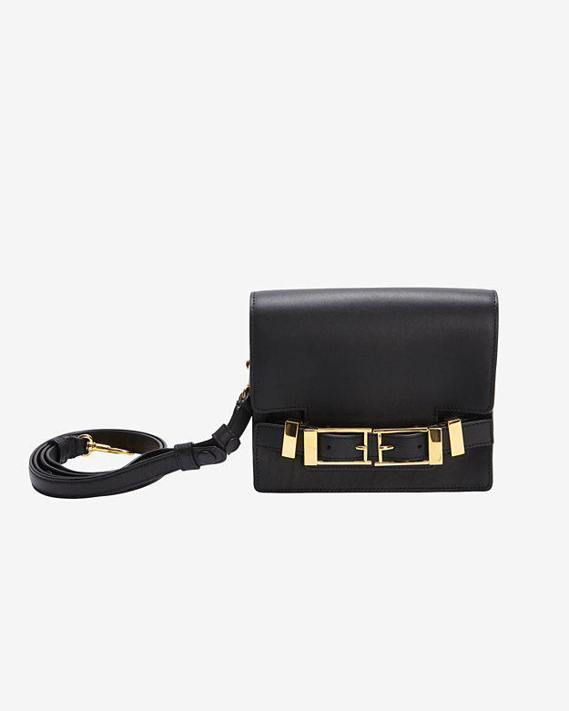 A.L.C. Davenport Double Buckle Clutch: Black
