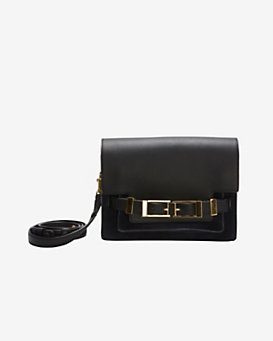 A.L.C. Hutton Double Buckle Clutch: Navy/Black