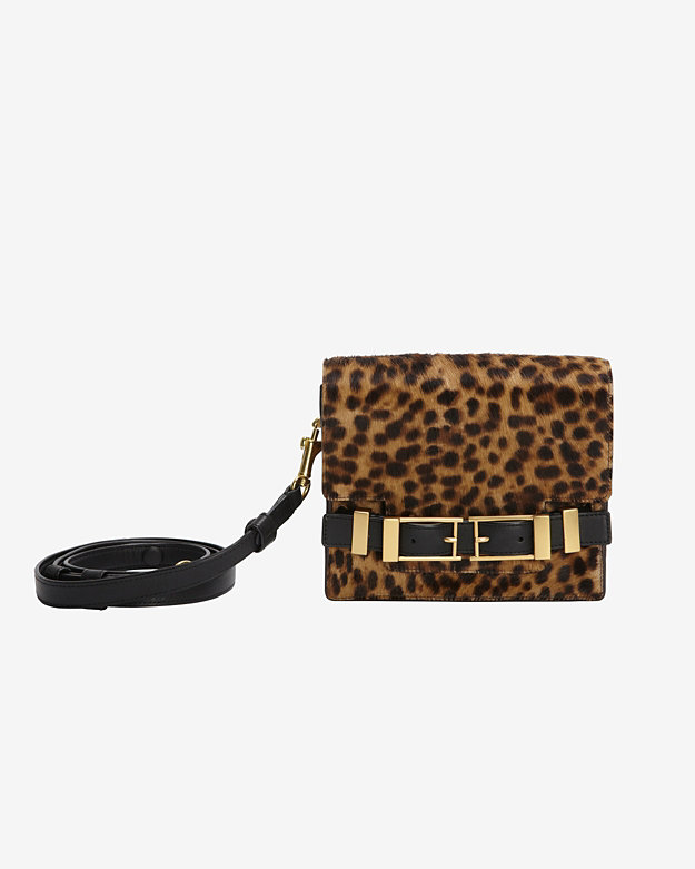 A.L.C. Davenport Double Buckle Leopard Print Haircalf Clutch