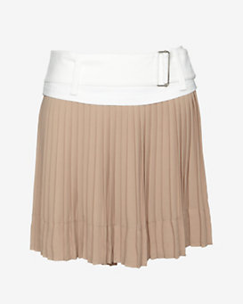 A.L.C. Contrast Belted Pleated Mini Skirt