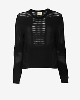 torn by ronny kobo Pointelle Sweatshirt: Black