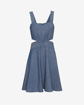 Elle Sasson EXCLUSIVE Cut Out Waist Chambray Dress