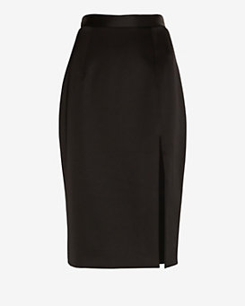 L'Agence Front Slit Satin Pencil Skirt