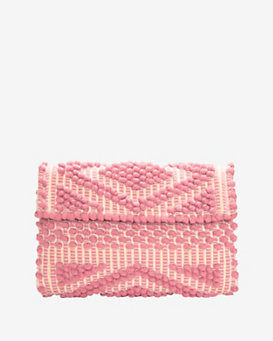 Antonello Foldover Cotton Clutch: Pink