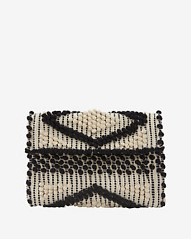 Antonello Foldover Cotton Clutch: Black/White