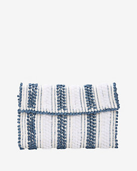Antonello Foldover Cotton Blend Clutch