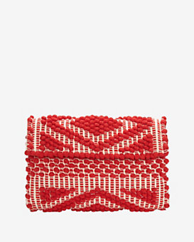 Antonello Foldover Cotton Clutch: Red