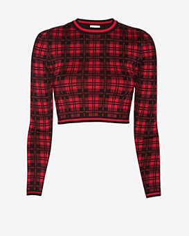 torn by ronny kobo Oli London Plaid Crop Top