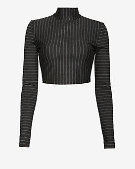 torn by ronny kobo Susan Mock Neck Pinstripe Crop Top