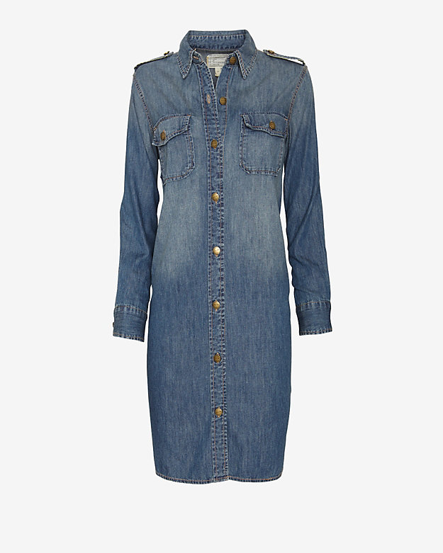 Current/Elliott The Perfect Shirt Dress: Miner Denim