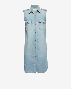 Current/Elliott EXCLUSIVE Sleeveless Denim Shirtdress