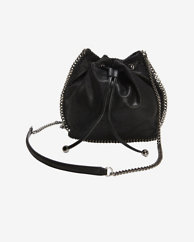 Stella McCartney Chain Trim Bucket Bag: Black