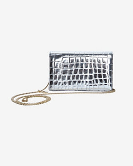 Stella McCartney Embossed Chain Clutch: Silver