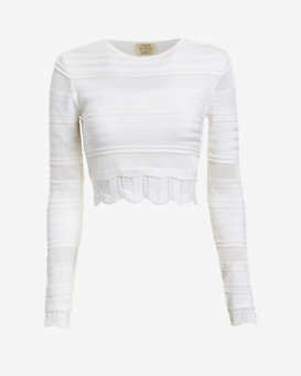 torn by ronny kobo Arielle Pointelle Crop Top