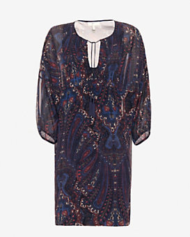 Joie Printed Silk Tassel Tie Dress
