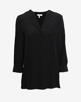 Joie Mid Placket Blouse: Black