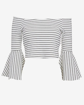 torn by ronny kobo Striped Off The Shoulder Top