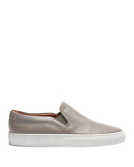 Common Projects Slip On Nappa Leather Sneakers: Grey