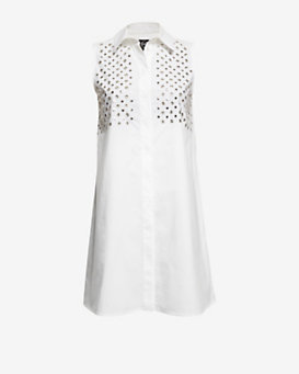 McQ Studded Eyelet Poplin Shirt Dress