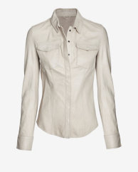 June EXCLUSIVE Leather Shirt: Beige