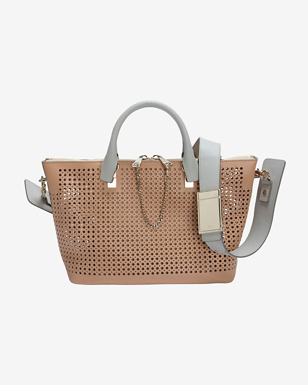 Chloe Medium Baylee Contrast Strap Perforated Leather Satchel: Sand