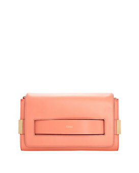 Chloe Elle Chain Medium Clutch: Coral
