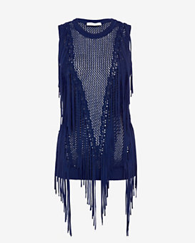Ronny Kobo Ronja Sleeveless Fringe Knit Top