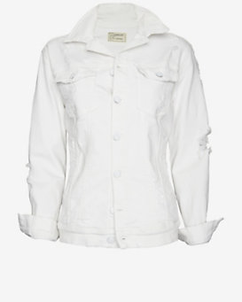 Current/Elliott Oversized Trucker Jacket: White